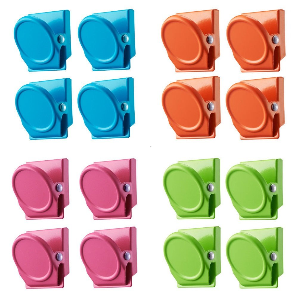 SEDY 16-Piece Magnetic Metal Clip, Magnets Clips, Refrigerator Whiteboard Wall Magnetic Memo Note Clip Metal Clip, Christmas Gift