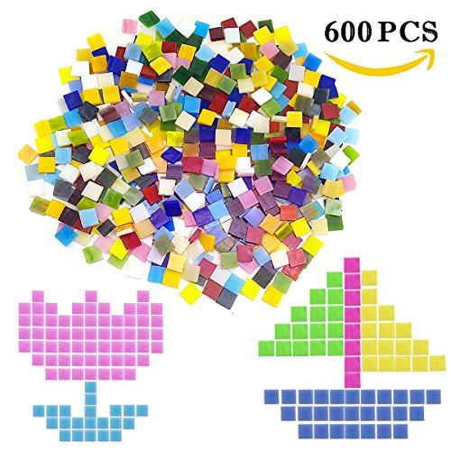 600 Pieces Mixed Color Mosaic Tiles Mosaic Glass Pieces Mosaic Making for Home Decoration or DIY Crafts, Square, 1 by 1 cm, by Leacheery
