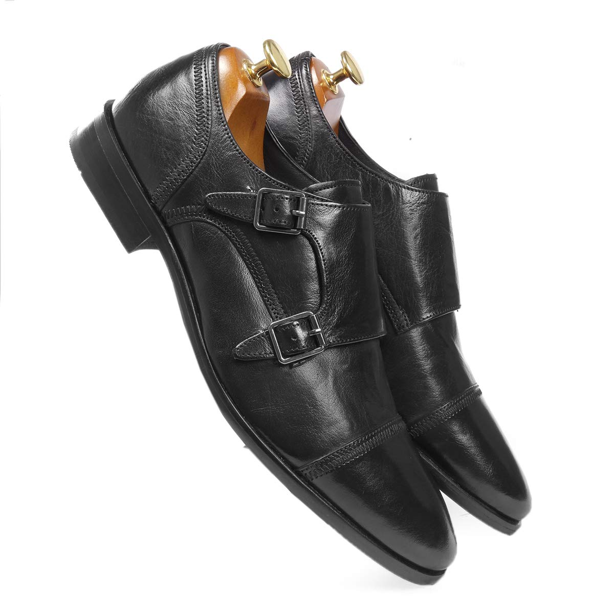 black leather monk shoes