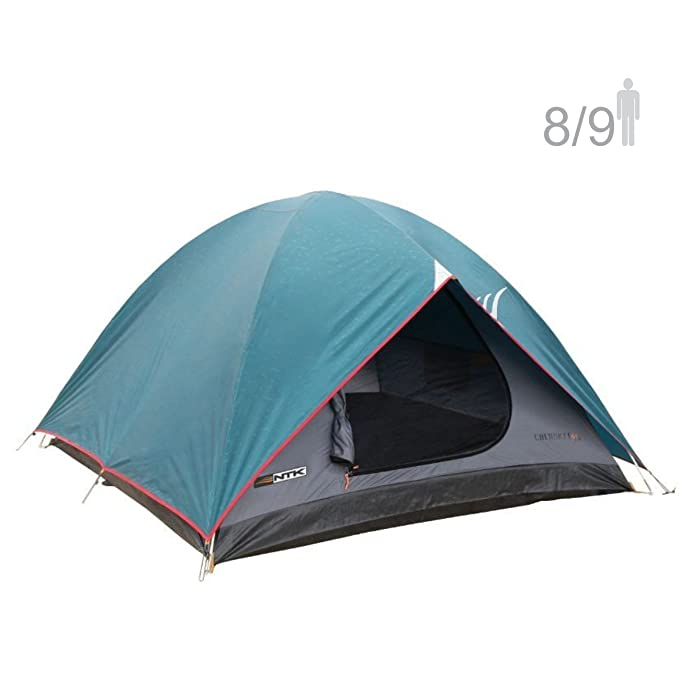 NTK Cherokee GT 8 to 9 Person 10 by 12 Foot Outdoor Dome Family Camping Tent 100% Waterproof 2500mm, Easy Assembly, Durable Fabric Full Coverage Rainfly - Micro Mosquito Mesh for Maximum Comfort.
