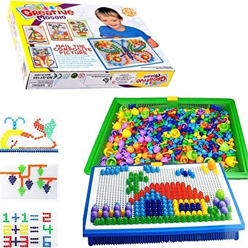 Special Edition 296 Pcs Pegboard Mushroom Nails Jigsaw Peg Puzzle Game With Numbers and Letters Nails (Random Colors)