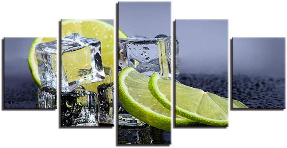 Composición de 5 Cubitos de hielo de limón Cuadro en lienzo Cuadros al óleo pintura al óleo regalo del hogar pintura artística sala de estar decoración del dormitorio pintura sin marco