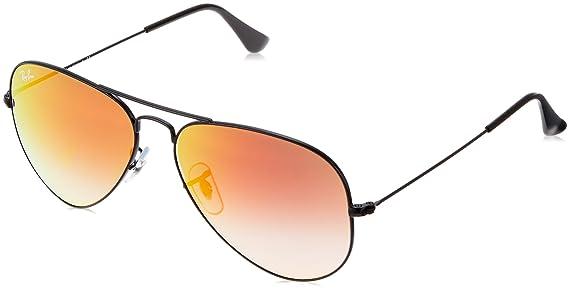 Ray-Ban Aviator Large Metal, Gafas de sol para Hombre, Negro (Orange Gradient Flash), 58