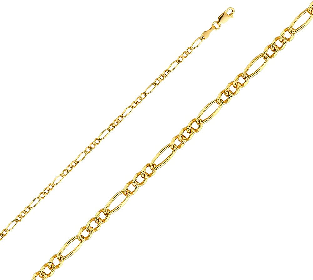 Sonia Jewels 14k Yellow Gold Figaro Yellow Pave Chain Necklace With Lobster Claw Clasp