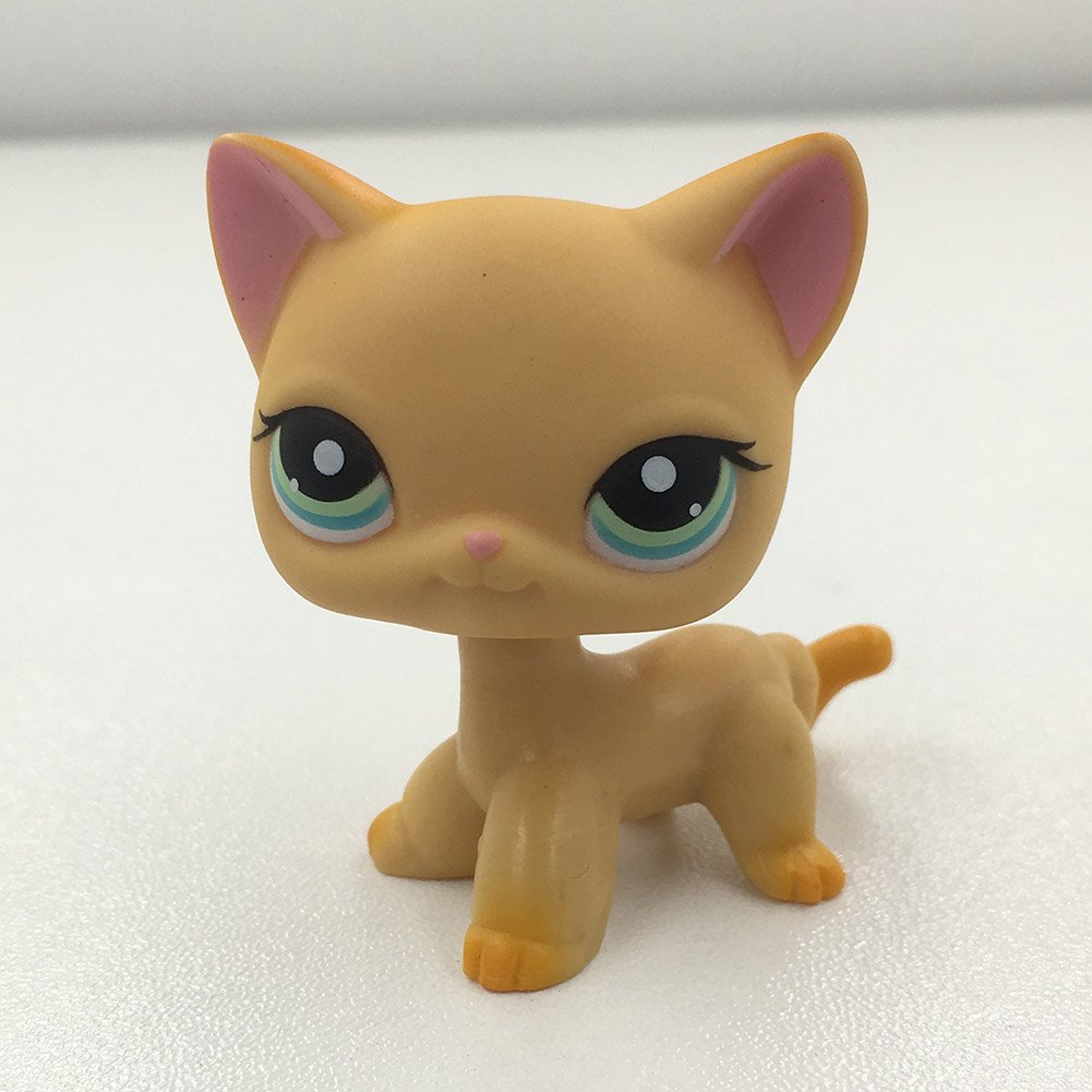 Luca Marrone Littlest Pet Shop Collection LPS, #339 Short Hair Cat Kitty Yellow Kitten Green Eyes Kids Toys