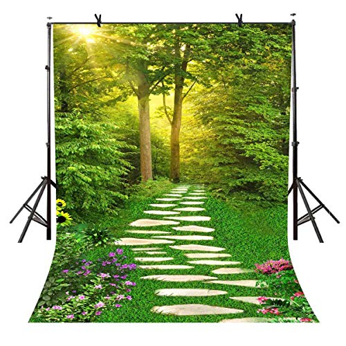 VVM 7x5ft Spring Scenery Backdrop Forest Path Sunshine Flower Photography Background Natural Scenery Photo Shoot Props -