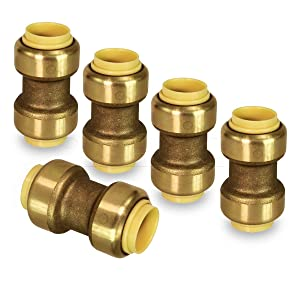 Pushlock UPSC12-5 Straight Coupling Pipe Fittings Push to Connect Pex Copper, CPVC, 1/2 Inch, Brass Pack of 5