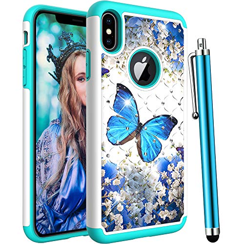 - CAIYUNL for iPhone Xs Case,iPhone X Case,Shockproof Heavy Duty Hybrid Protective Hard Plastic& Silicone Bling Glitter Sparkle Studded Rhinestone Women Men Cover for iPhone X/iPhone Xs-A Blue Butterfly