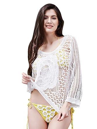 239e3484eaab MingTai Vestidos de Encaje Crochet Bikini Encima de Hueco Playa Vestido  Pareos Traje de Baño