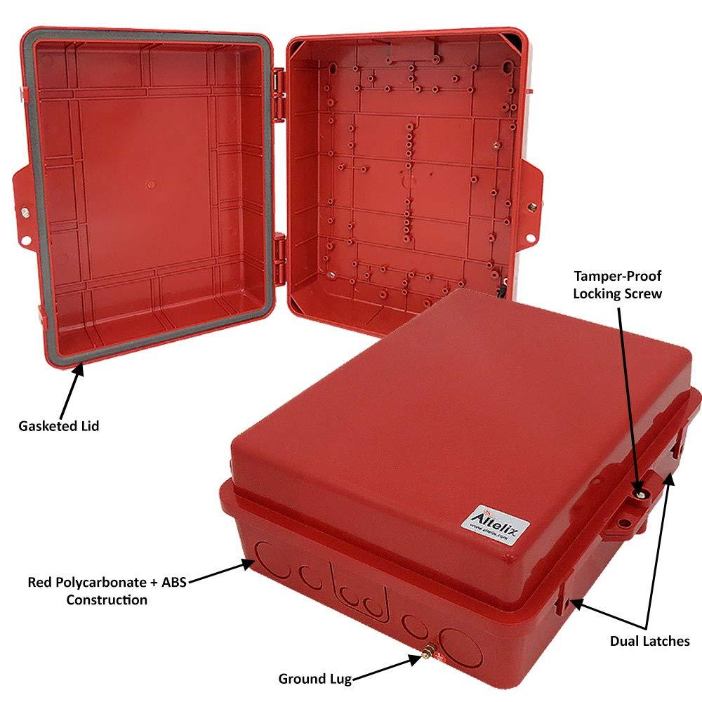 Altelix Red NEMA Enclosure 12 x 8 x 4 Inside Space Polycarbonate ABS Weatherproof Tamper Resistant Safety Red NEMA Box