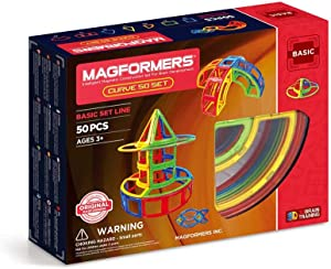 Magformers Curve 50 Pieces Rainbow Colors,Educational Magnetic Geometric Shapes Tiles Building STEM Toy Set Ages 3+
