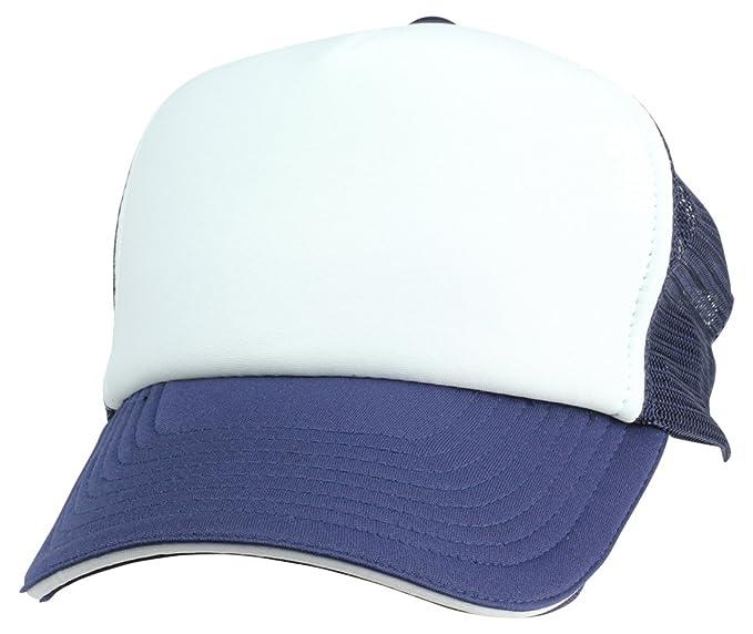 bad46326c2 DALIX Mesh Trucker Cap Sandwich Bill Adjustable Snapback 5 Panel Plain Hat  Navy White
