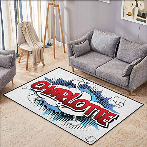 - Large Area Rug,Charlotte,Female Name with French Origins in Retro Cartoon Design Explosion Effect and Dots,Anti-Slip Doormat Footpad Machine Washable,4'7