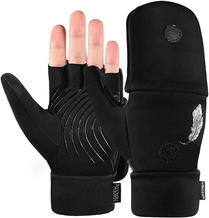 Vbiger Fingerlose Handschuhe Fäustlinge Winter Warme Fahrradhandschuhe Anti Rutsch Fingerhandschuhe Halbfinger Winterhandschuhe Für Herren Und Damen Bekleidung