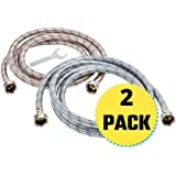 Washing Machine Hoses - Braided Stainless Steel Water Supply Line - Universal Fit to All Wash Machines - 4FT Burst Proof (2 Pack) Wrench for Easy Installation