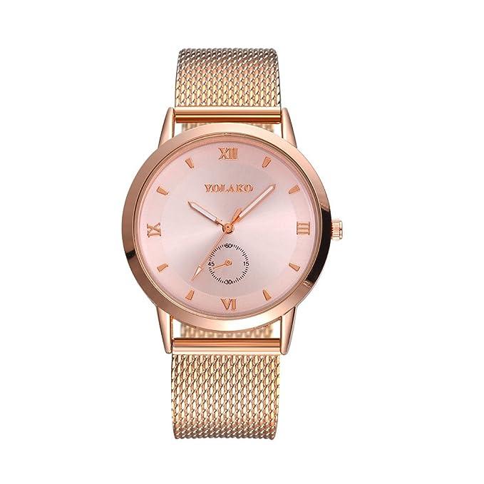 JiaMeng Reloj de Pulsera de Cuarzo de Cuero Sintetico Reloj Espejo de Cristal de Alta dureza de Moda Hombres y Mujeres General Mesh Belt Watch: Amazon.es: ...
