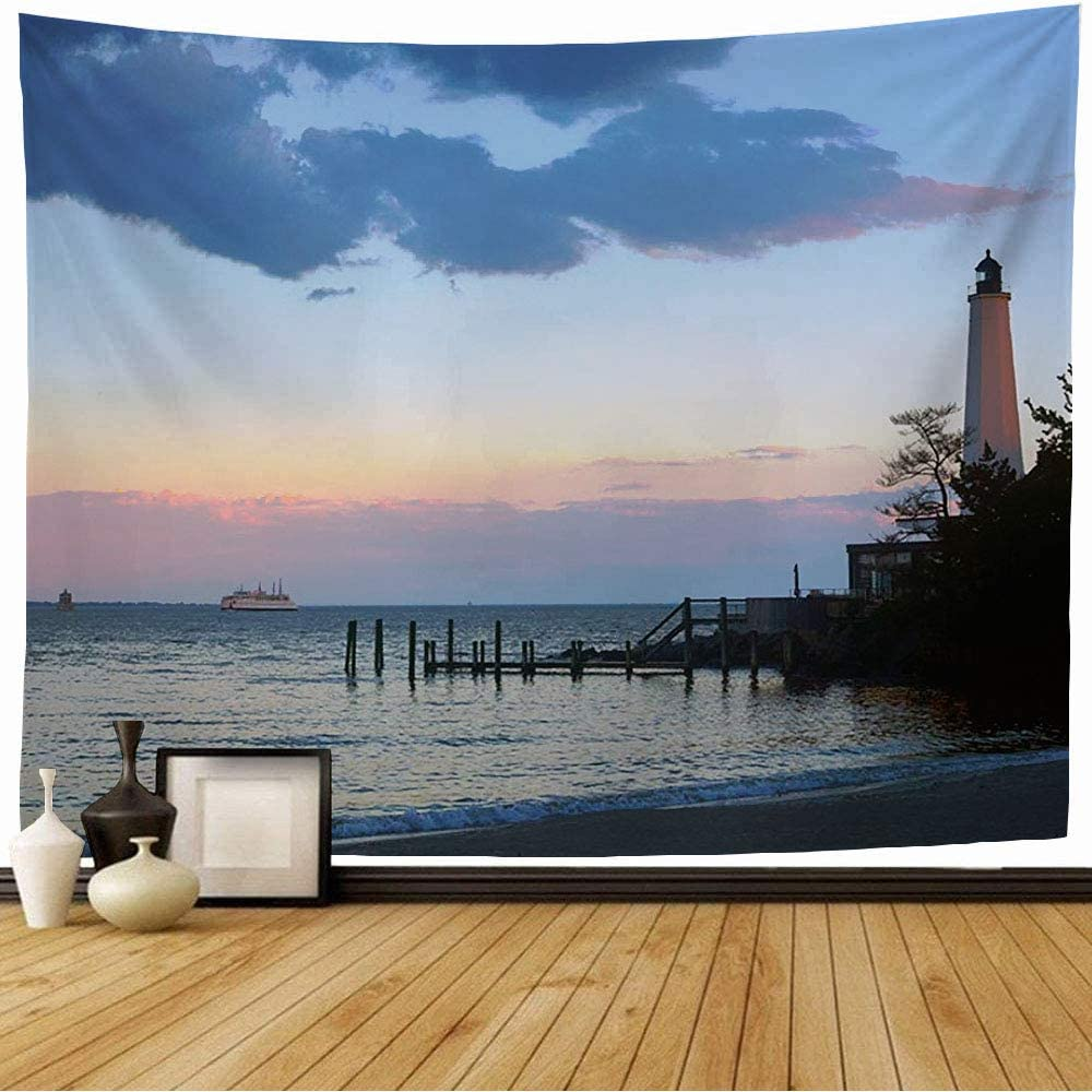Starosac Tapestry Wall Hanging Connecticut New London Lighthouse Ct Summer Evening Nature Beach England Harbor Outdoors Ocean Wall Tapestry for Living Room Dorm 60x60 Inch
