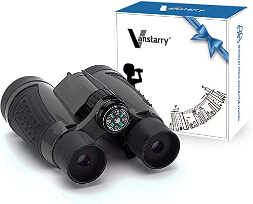 Vanstarry Kids Binoculars, 5X30 Optical Lens - Compact High Resolution Kids Binoculars for Kids Camping, Hiking, Bird Watching and Outdoor Exploring - Including Compass