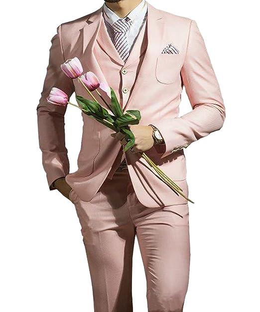 Amazon.com: pretygirl para hombre rosa 3 piezas Trajes Slim ...