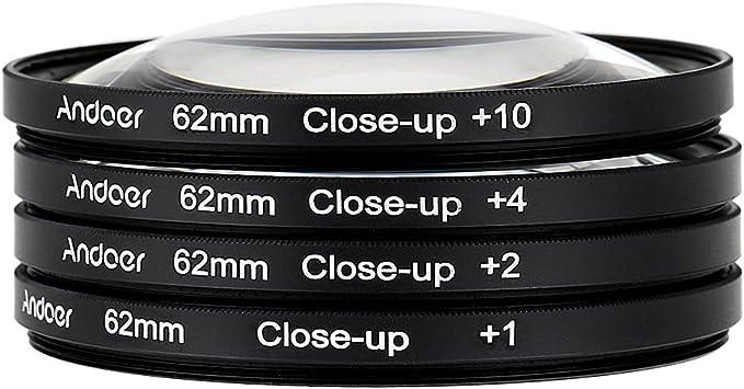 Andoer 58mm Macro Close-up Filter Imposta 4 10 con il Sacchetto per Nikon Canon DSLR 2 1