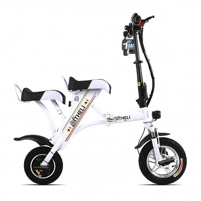 Pequeña Bicicleta Eléctrica Plegable Mini Batería Femenina Coche Generación Masculina Eléctrica Placa Doble de Litio para Adultos Patinaje: Amazon.es: ...