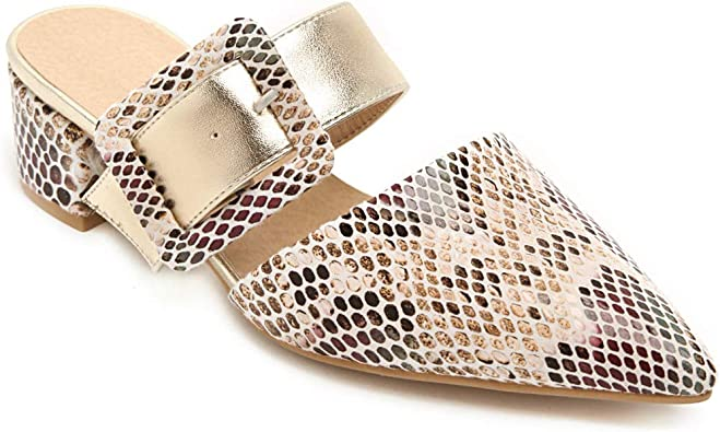 Gold Ladies pointed toe slip on flat mules SIZE 6,6.5,7,7.5,8,8.5,9,10,11
