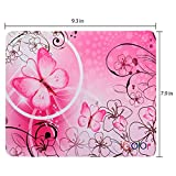 ICOLOR Pink Butterfly Anti-Slip Mouse Pad by ICOLOR Mice Pad Mat Mousepad For Optical Laser Mouse MP-018