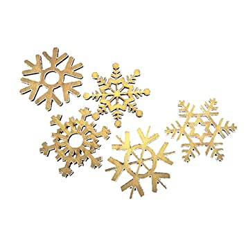 Merry Christmas Snowflake Ornament, Wooden Snowflake Xmas Wedding Tree Hanging Ornament Decor (5Pcs B