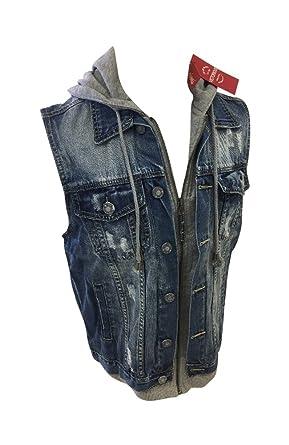 e43c05835585b Mens Victorious Sleeveless Denim Hooded Jean Jacket Light Indigo Blue  Vintage Wash DK110 (Small)