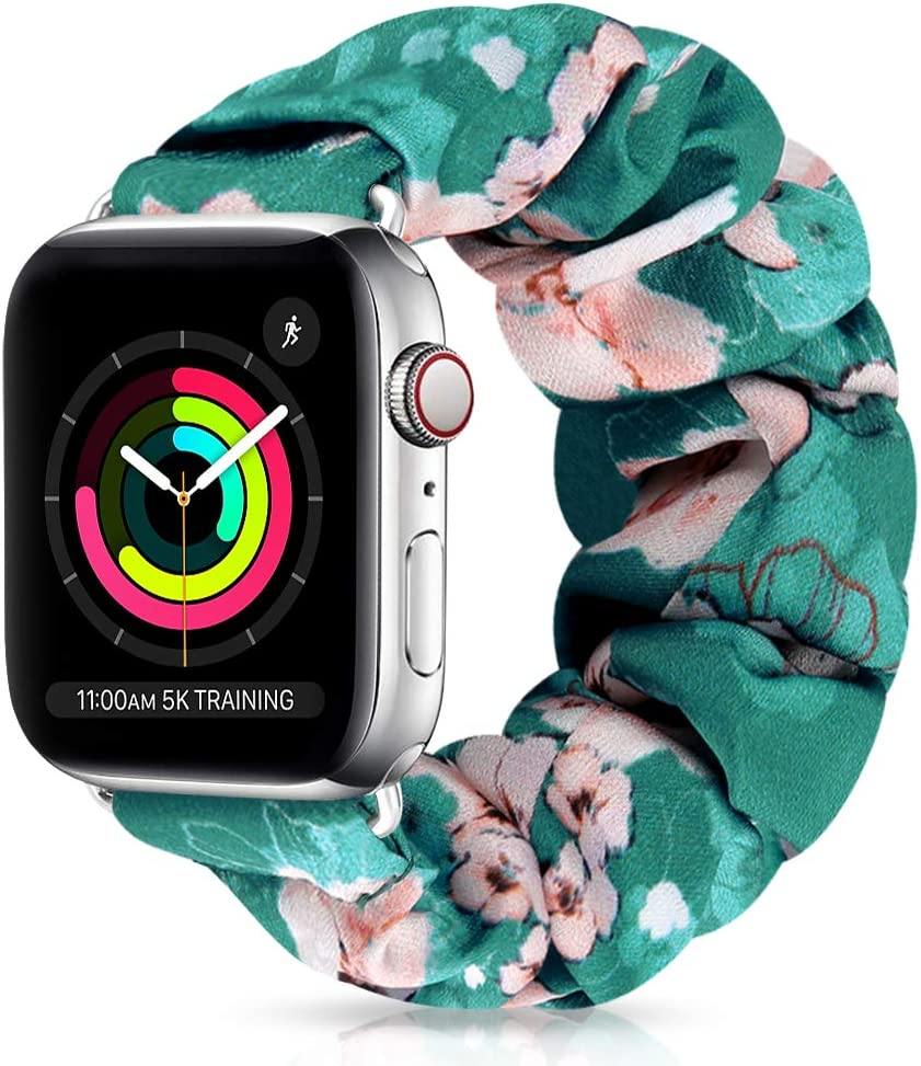 XFYELE Scrunchie Elastic Watch Band Compatible with Apple Watch Band 38mm 40mm, Comfortable and Soft Printed Fabric Wristbands Replacement for iWatch Series 6/5/4/3/2/1 (Color-G, 38mm/40mm Large)