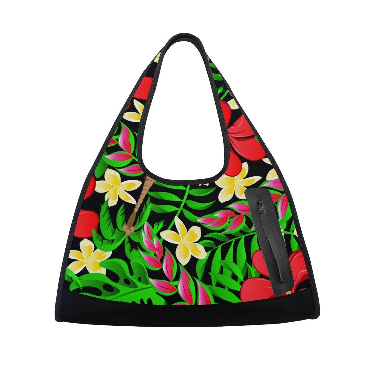 AHOMY Canvas Sports Gym Bag Tropical Palm Tree Leaf Abstract Travel Shoulder Bag