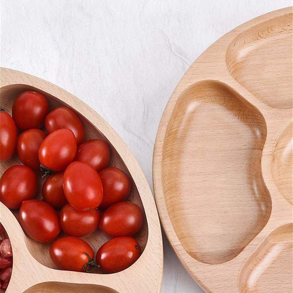 somedays Art/ículos para el hogar Plato de Servicio de 5 Compartimentos Madera nack para el hogar Plato de Fruta Seca Bandeja de Dulces 25cm