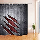 dark grey curtains next BCNEW Shower Curtain Grey Dark Red Scratch Simple Personality Pattern,70 x 70 Inches Waterproof Mildew Resistant Polyester Fabric Bathroom Curtains Hanging Curtain,