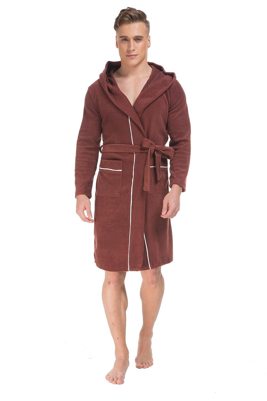 Cokle Mens Solid Short Homewear Robe Fleece Loungewear Bathrobe for Men with 2 Front Pockets Black//Brown COMR001