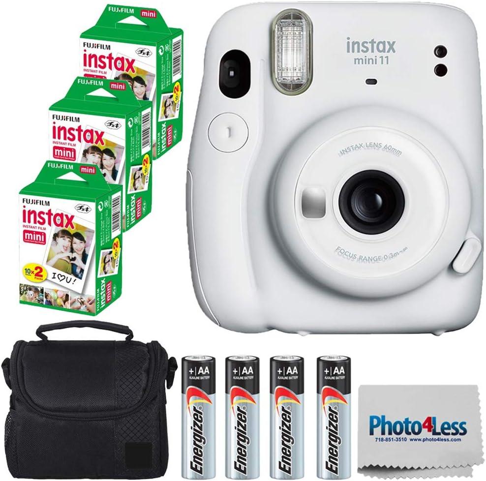 Fujifilm Instax Mini 11 Instant Camera - Ice White (16654798) + 3 Packs Fujifilm Instax Mini Twin Pack Instant Film (16437396) + Batteries + Case + Cloth