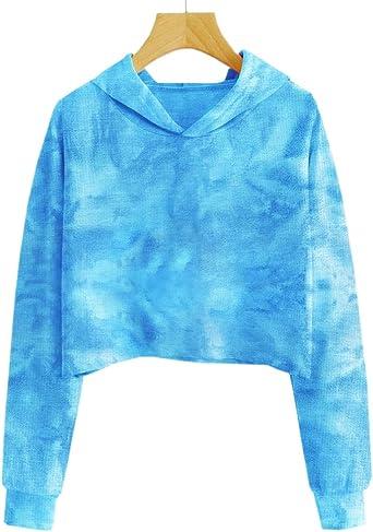 Small Hoodie Blue Mermaid Scale Geometric Girls Casual Sweatshirt Pocket Hoodie
