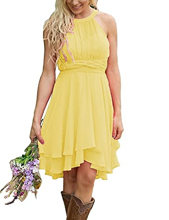 8fd307b5b77 Meledy Women s Knee Length Country Bridesmaid Dresses Western Wedding Guest  Dresses Short Maid of Honor Gown Yellow US16 at Amazon Women s Clothing  store