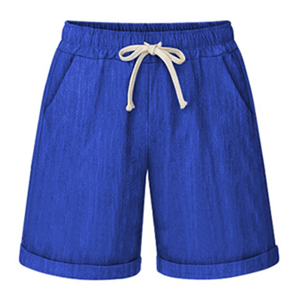 Women's Elastic Waist Cotton Linen Casual Knee Length Bermuda Shorts Royal Blue Tag 6XL-US 18