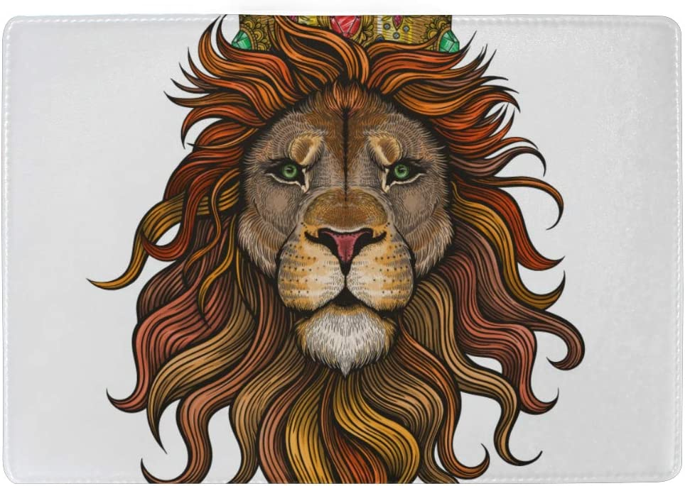Beautiful Lion Portrait Blocking Print Passport Holder Cover Case Travel Luggage Passport Wallet Card Holder Made With Leather For Men Women Kids Family