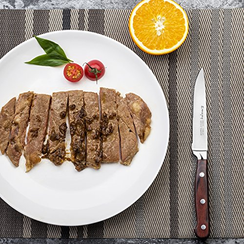 Steak knives, Emojoy Steak knife set, Stainless Steel Steak Knives Serrated, German Stainless Steel with Highly Resistant and Durable Pakkawood Handle (Steak Knives Set of 8) by Emojoy (Image #4)'
