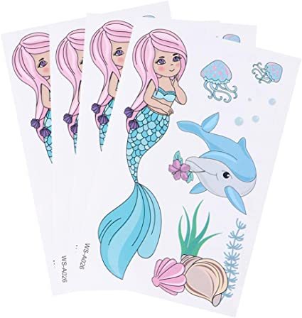 Amosfun Mermaid Party Supplies Tatuajes temporales para ni/ños Dibujos Animados Pegatinas de Tatuaje Pegatinas Impermeables ecol/ógicos para ni/ños y ni/ñas Tatuajes temporales para ni/ños 12 Hojas