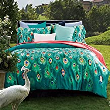 Egyptian Cotton Peacock Feather Printed Bedding Sheet Sets Bedding Collections 4 Pieces- MAXYOYO Luxury Muti-color Duvet Cover Set Queen Size(1 Duvet Cover, 1 Flat Sheet and 2 Pillowcases)