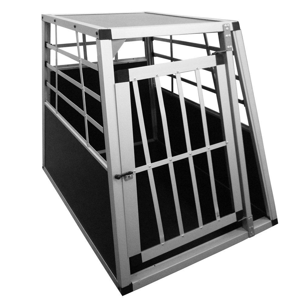 Leopet Cage de transport pour chien en aluminium, cage pour voiture, argenté