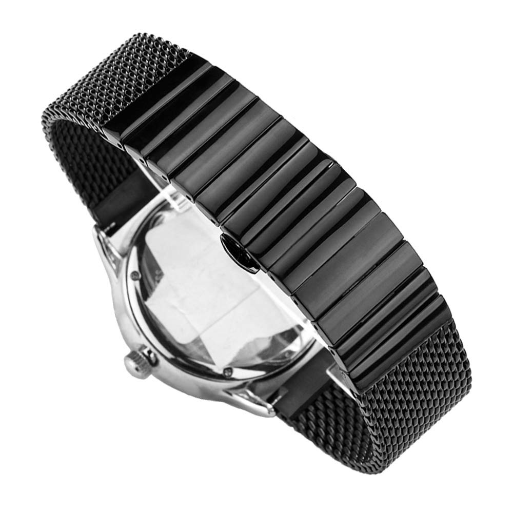 Shark Mesh Milanese Stainless Steel Metal Replacement Band, 20mm Watch Bands Strap Black Watch Bracelet for Women & Men by Juntan