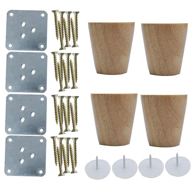 Sourcingmap - Juego de 4 patas redondas de madera para muebles, sofás, sillas, mesas, armarios, armarios, armarios, bancos