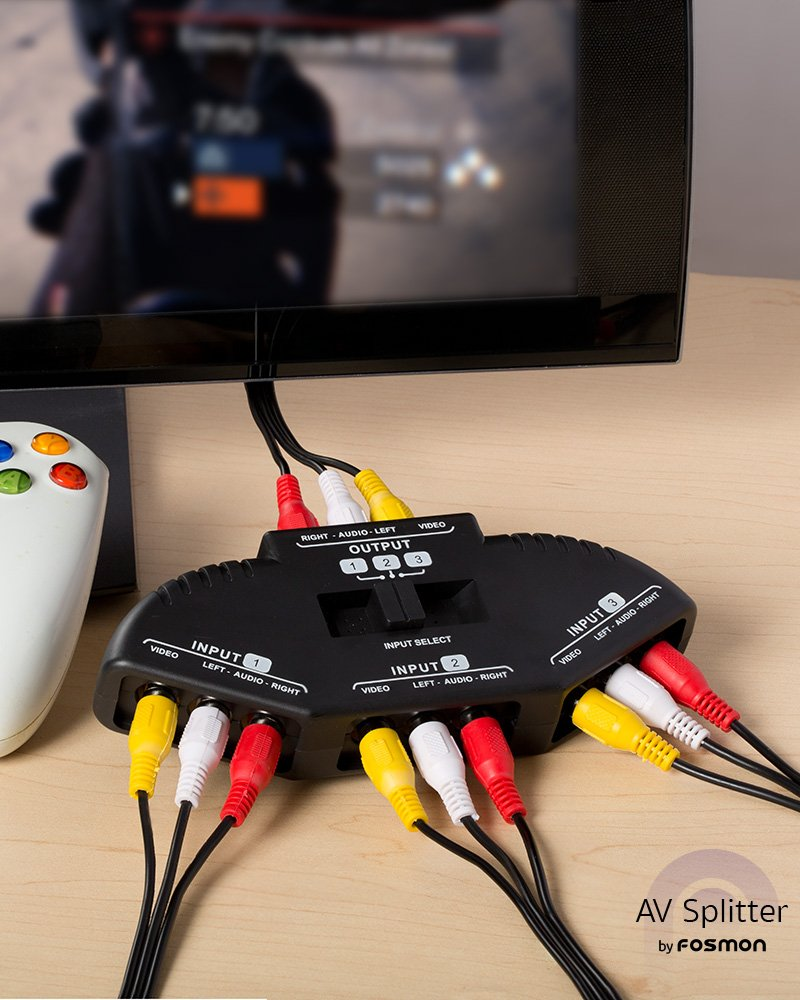 Fosmon A1602 Rca Splitter With 3 Way Audio Video Switch Box 2 Cable For Connecting Output Devices To Your Tv Selector Boxes