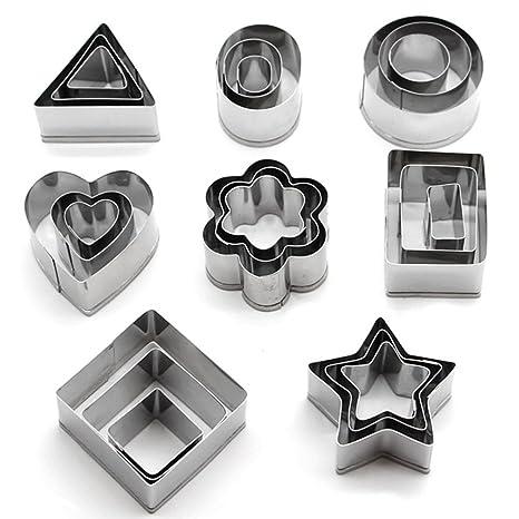 KAISHAN - Cortadores de galletas de acero inoxidable (forma de flor, corazón, estrella, redondo, cuadrado, rectangular, triángulo y ovalado), 24 ...
