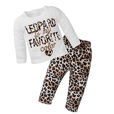 2pcs Bébé Fille Motif léopard Broderie T-shirt à manches longues + Pantalon (70cm)