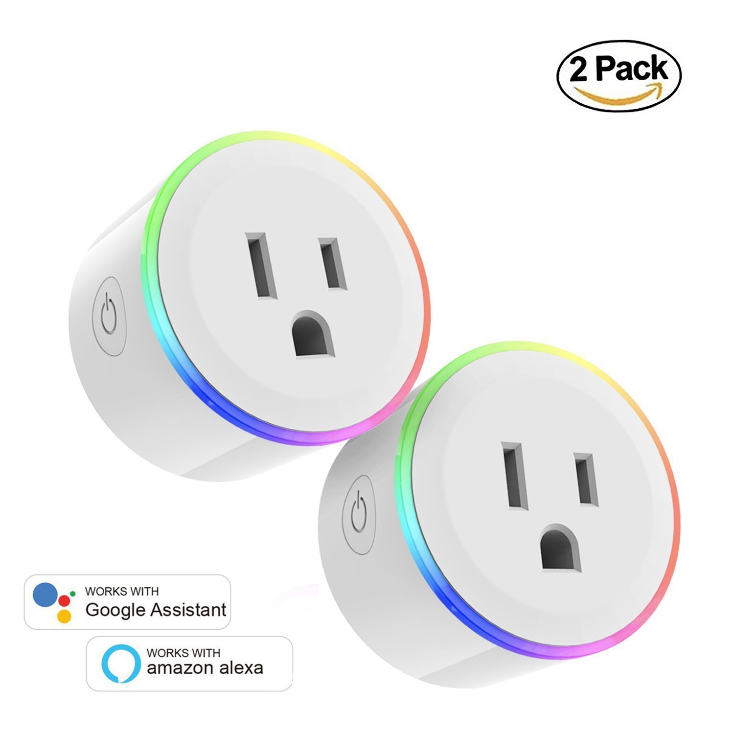 WiFi Smart Plug Wireless Mini Outlets Smart Socket with 7 Colors Night Light No Hub Required Control Timing Function Control Your Electric Devices from Anywhere Works with Alexa and Google Assistant 2