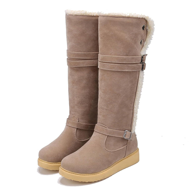 Fanala Fashion Women Winter Warm Buckle Solid Flat Heel Knee-High Snow Boot Fleece Lined